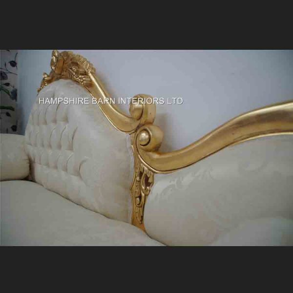Amberley Chaise Longue Medium Size Ornate Gold leaf with cream fabric5