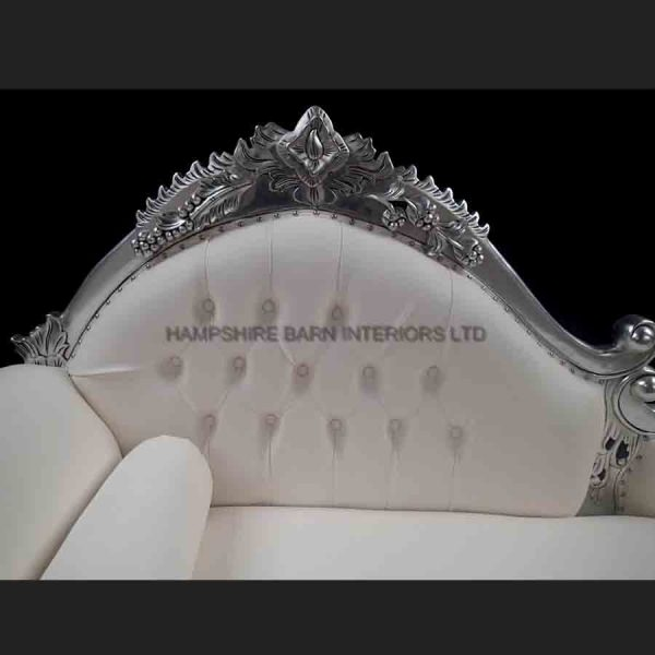 Amberley Chaise Longue Medium Size Ornate Silver Leaf with Creamy White Faux Leather2