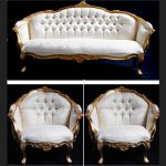 An ASCOT three piece salon set (sofa plus two armchairs) shown in gold leaf with cream easiclean faux leather1