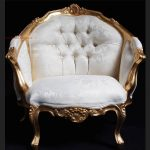 An ASCOT three piece salon set (sofa plus two armchairs) shown in gold leaf with cream easiclean faux leather3