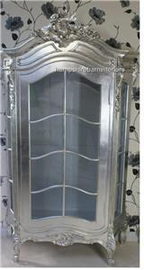 An Ornate French Louis Style Carved SILVER LEAF DISPLAY CABINET, ALSO IN GOLD LEAF1