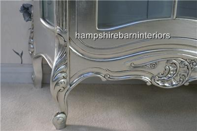 An Ornate French Louis Style Carved SILVER LEAF DISPLAY CABINET, ALSO IN GOLD LEAF4