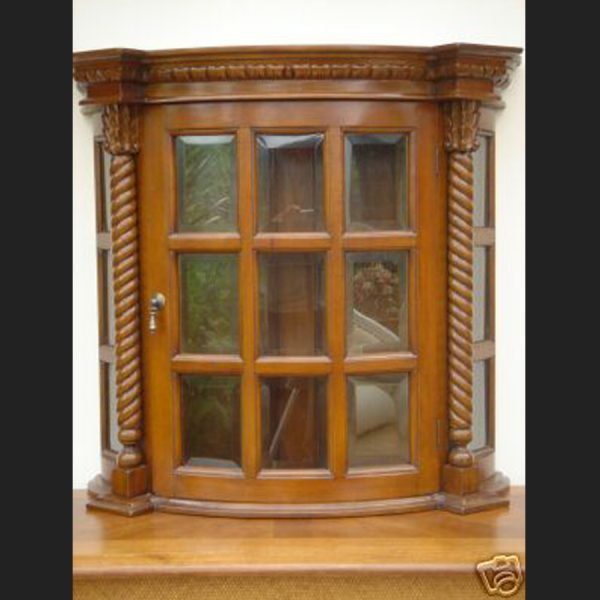Antique Bow Fronted Wall Display1