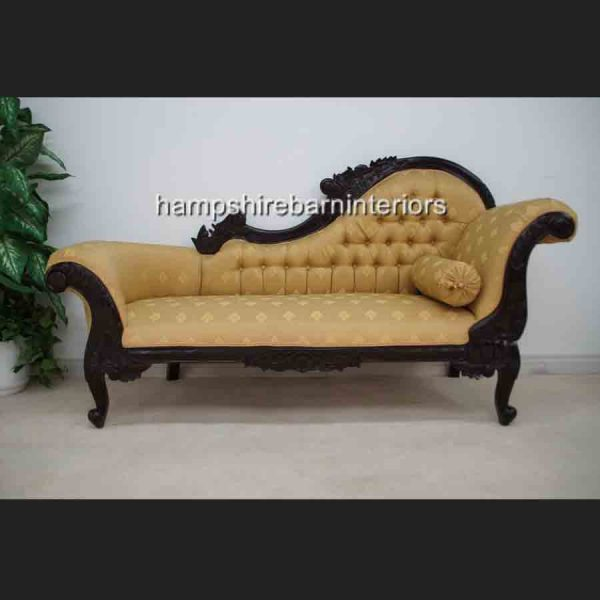 Antique Replica Ornate Mahogany Hampshire Chaise with Gold Fabric1