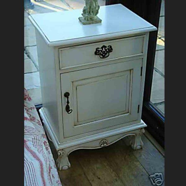 Antique White Bedside Cabinet