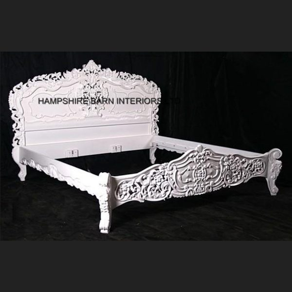 Antique White French Heavily Carved Rococo Bed