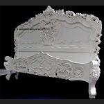 Antique White French Heavily Carved Rococo Bed2