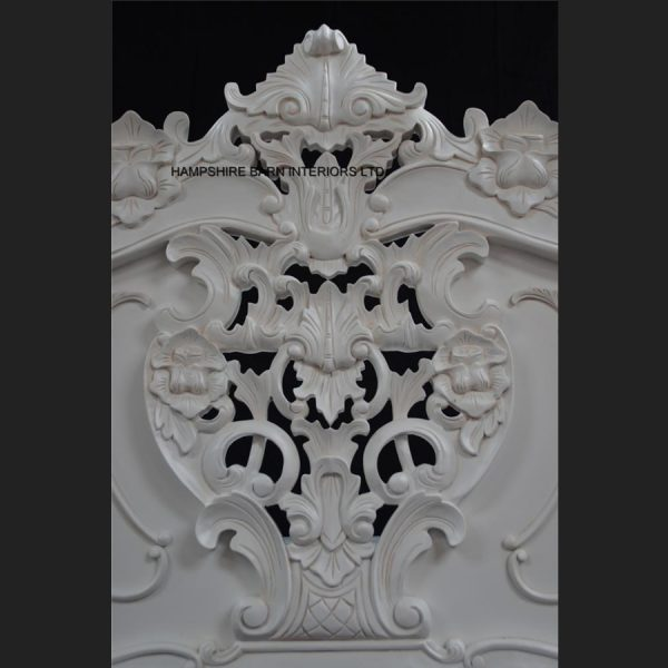 Antique White French Heavily Carved Rococo Bed3