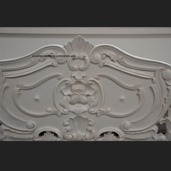 Antique White French Heavily Carved Rococo Bed5