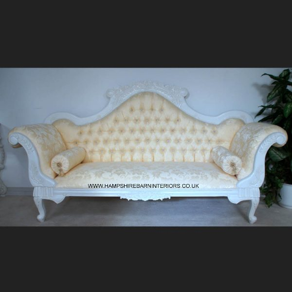 Antique White Ornate Wedding Sofa…now with DIAMOND CRYSTAL BUTTONS1