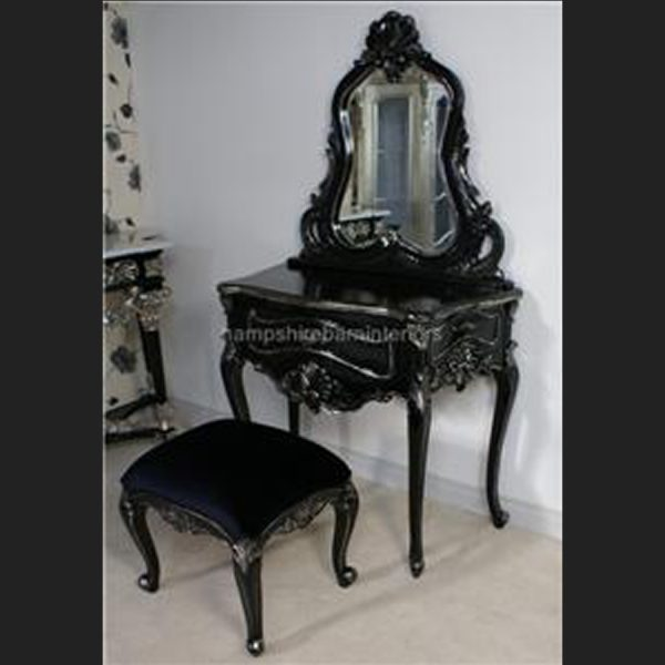 BELGRAVIA dressing table & Stool shown in silvered black finish …others colours to made to order1