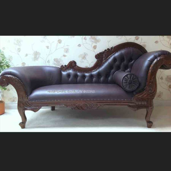 BROWN FAUX LEATHER & MAHOGANY MEDIUM CHAISE1