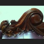 BROWN FAUX LEATHER & MAHOGANY MEDIUM CHAISE4