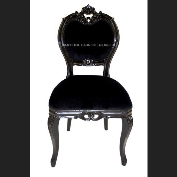 Black Beauty French Chateau Noir Style Ornate Chair Black Velvet …..Bedroom, Boudoir,dining, desk, dressing table or occasional1