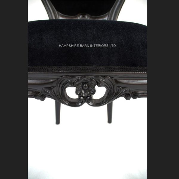 Black Beauty French Chateau Noir Style Ornate Chair Black Velvet …..Bedroom, Boudoir,dining, desk, dressing table or occasional4
