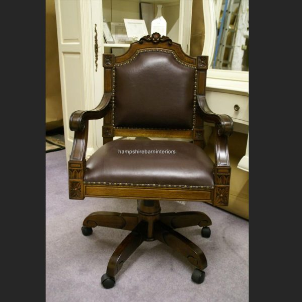 Brown Leather Ornate Desk Chair