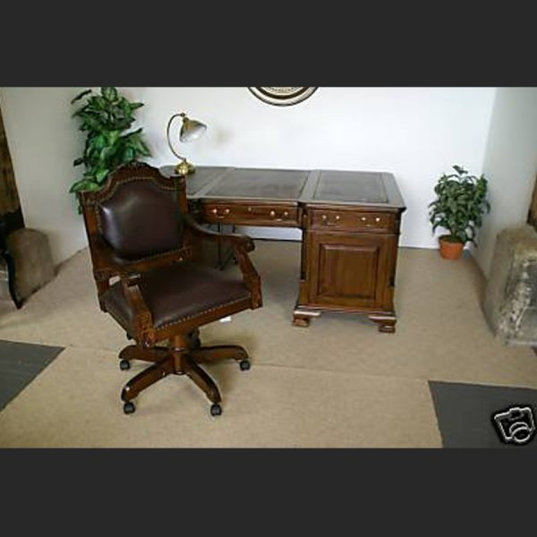 Brown Leather Ornate Desk Chair2