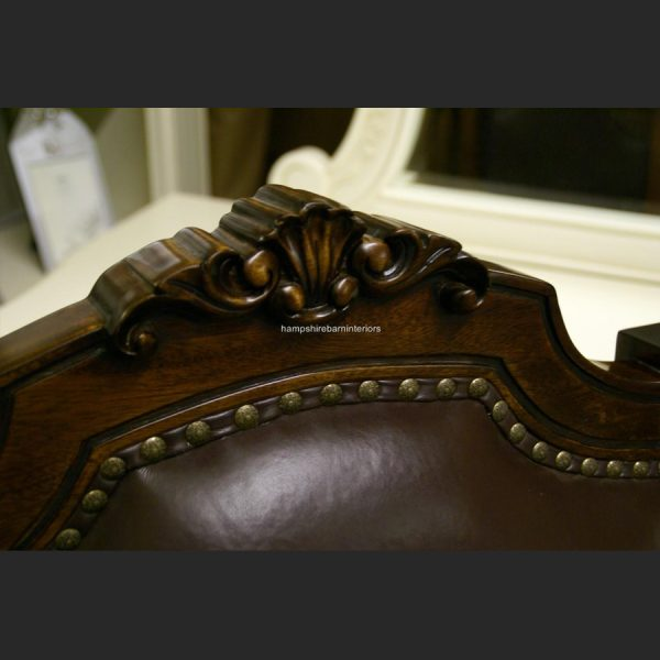 Brown Leather Ornate Desk Chair3