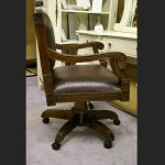 Brown Leather Ornate Desk Chair4