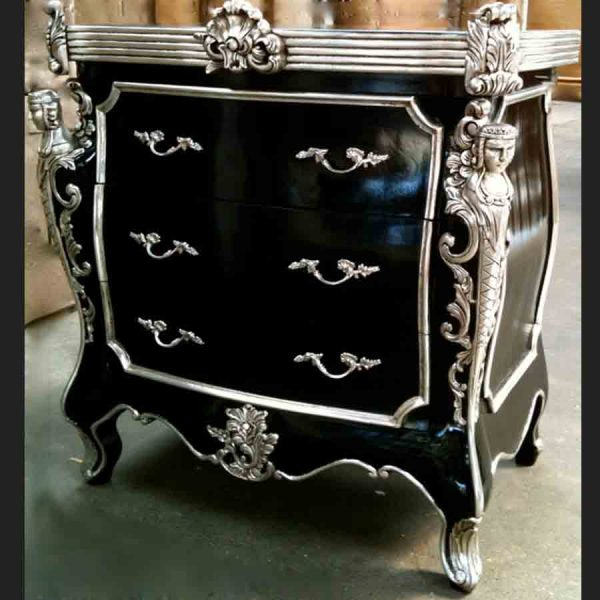 CAMBRIDGE ORNATE 3 DRAWER CABINET CHEST shown in black and silver and also black and gold1