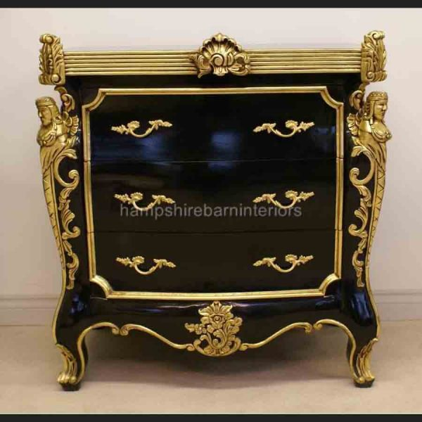 CAMBRIDGE ORNATE 3 DRAWER CABINET CHEST shown in black and silver and also black and gold2