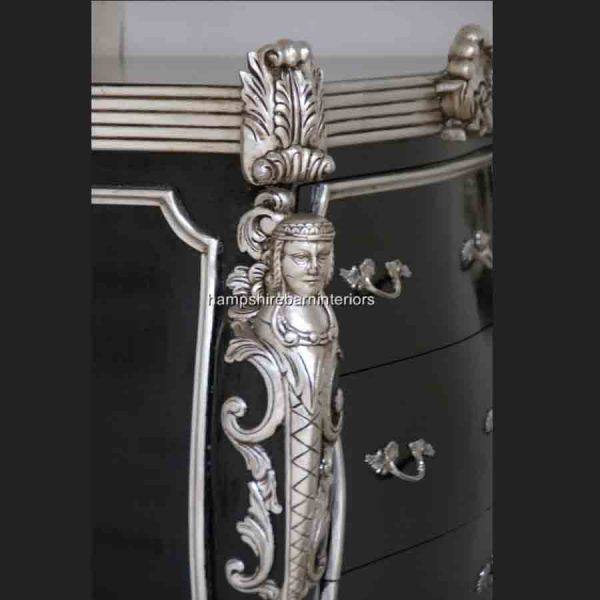 CAMBRIDGE ORNATE 3 DRAWER CABINET CHEST shown in black and silver and also black and gold3