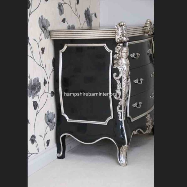 CAMBRIDGE ORNATE 3 DRAWER CABINET CHEST shown in black and silver and also black and gold4