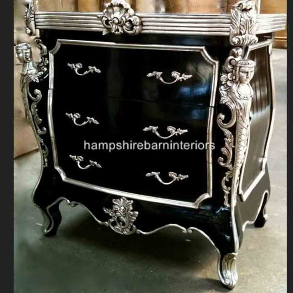 CAMBRIDGE ORNATE 3 DRAWER CABINET CHEST shown in black and silver and also black and gold5