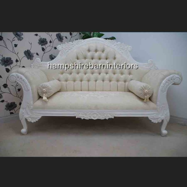 CHARLES LOUIS CHAISE CUDDLER LOVE SEAT SOFA white finish WITH IVORY FABRIC1