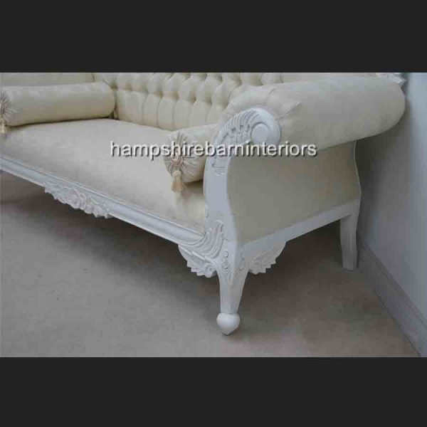 CHARLES LOUIS CHAISE CUDDLER LOVE SEAT SOFA white finish WITH IVORY FABRIC2