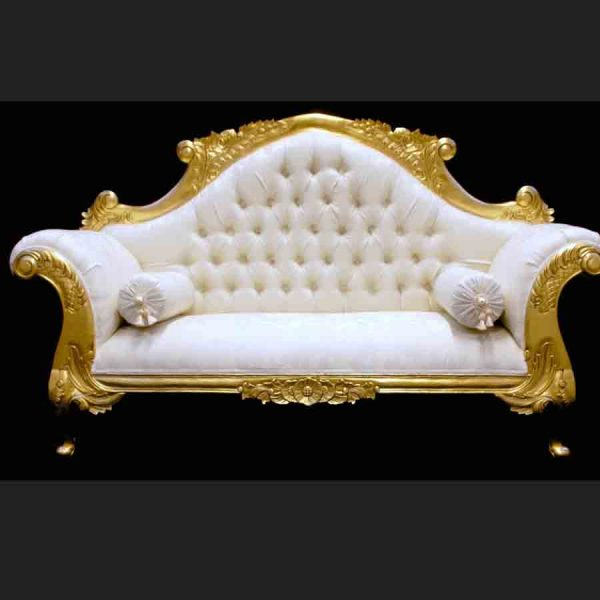 CHARLES LOUIS CUDDLER LOVE SEAT CHAISE SOFA in GOLD LEAF frame with IVORY CREAM FABRIC