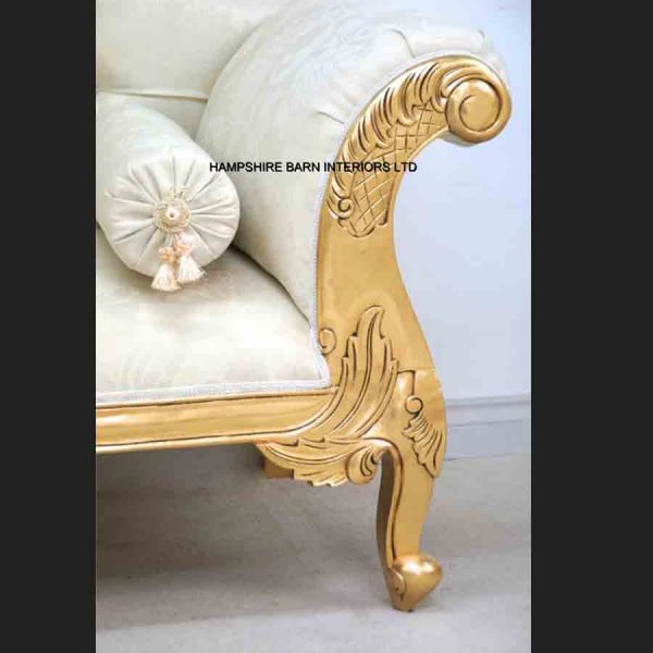 CHARLES LOUIS CUDDLER LOVE SEAT CHAISE SOFA in GOLD LEAF frame with IVORY CREAM FABRIC3