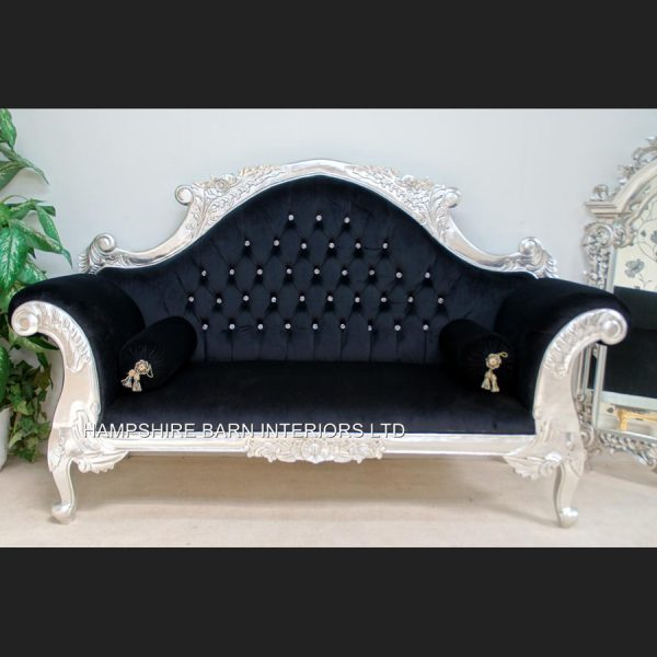 CHARLES LOUIS CUDDLER LOVE SEAT CHAISE SOFA in SILVER LEAF frame with black velvet CRYSTAL BUTTONS1