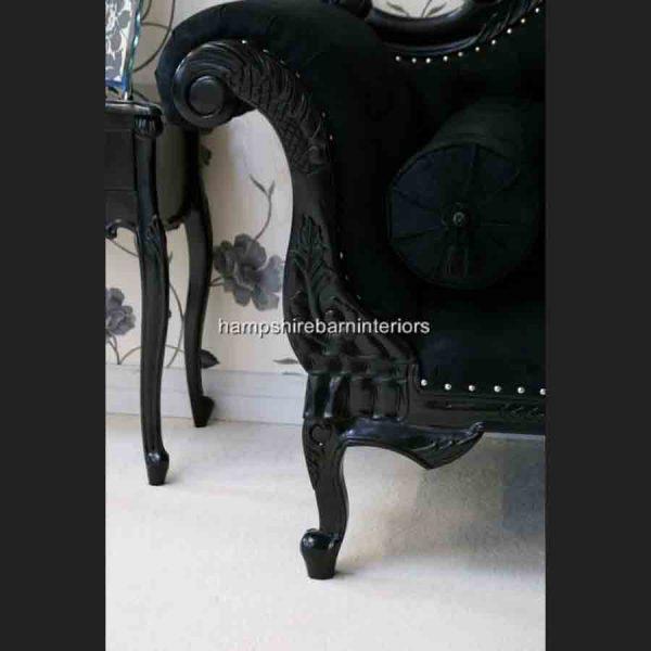 CHARLES LOUIS CUDDLER LOVE SEAT CHAISE SOFA in black gloss finish3