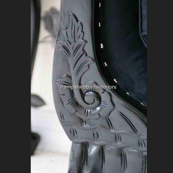 CHARLES LOUIS CUDDLER LOVE SEAT CHAISE SOFA in black gloss finish4