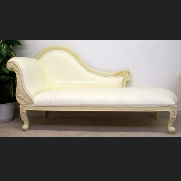 CHELSEA CLASSICAL FRENCH CHAISE (shown in antiqued cream frame with white1
