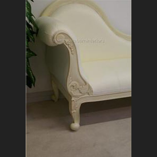 CHELSEA CLASSICAL FRENCH CHAISE (shown in antiqued cream frame with white4