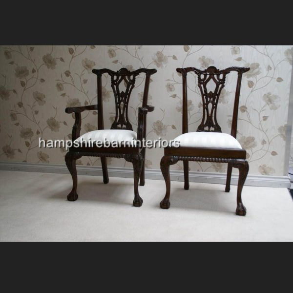 CHIPPENDALE STYLE DINING CHAIRS (also available without arms)2