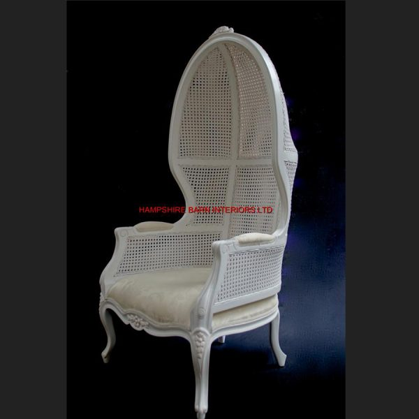 Chateau Antique White Feature Tall Throne Arm Chair French designer hooded canopy1