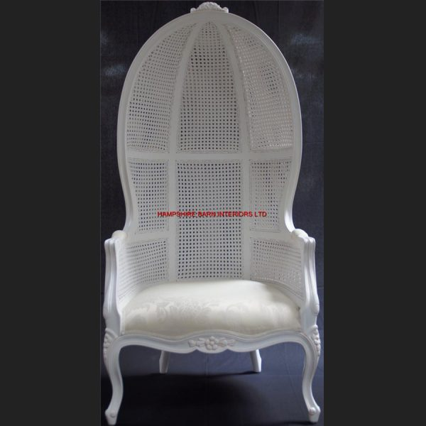 Chateau Antique White Feature Tall Throne Arm Chair French designer hooded canopy3
