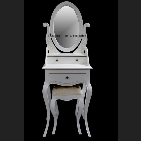 Chateau French Style Antique White Small Dressing table, includes OVAL mirror and stool1