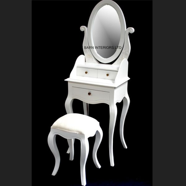 Chateau French Style Antique White Small Dressing table, includes OVAL mirror and stool3