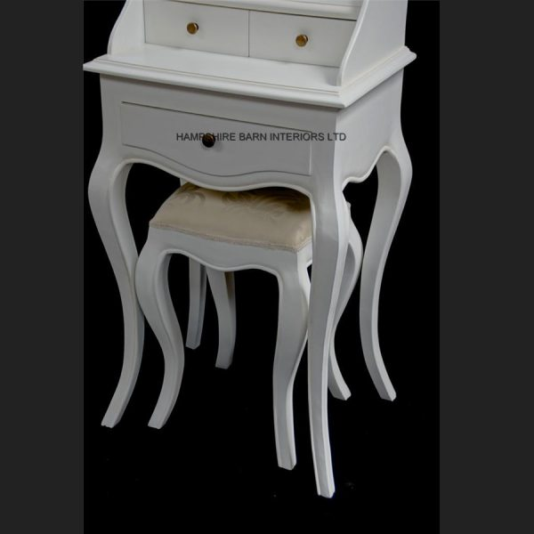 Chateau French Style Antique White Small Dressing table, includes OVAL mirror and stool4