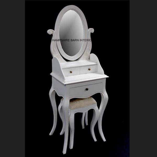 Chateau French Style Antique White Small Dressing table, includes OVAL mirror and stool5