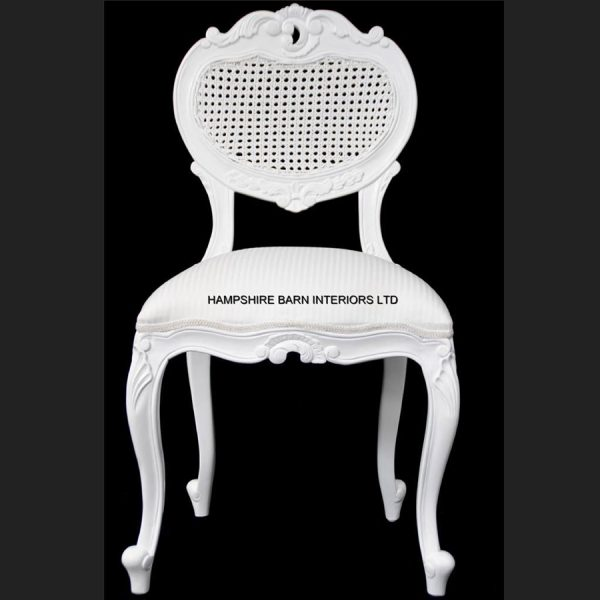Chateau French Style Boudoir Ornate White Chair RATTAN backed ..dining, desk, dressing table or occasional1