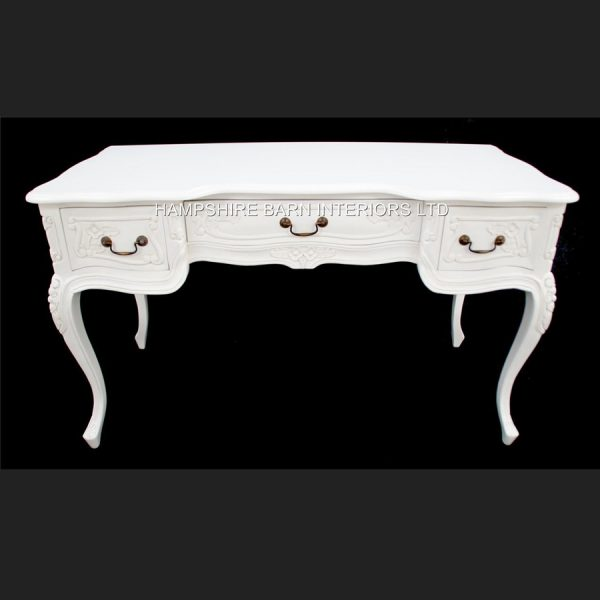 Chateau French Style Ornate White Desk ..can be used also as a Console or Dressing Table 3 Drawer1