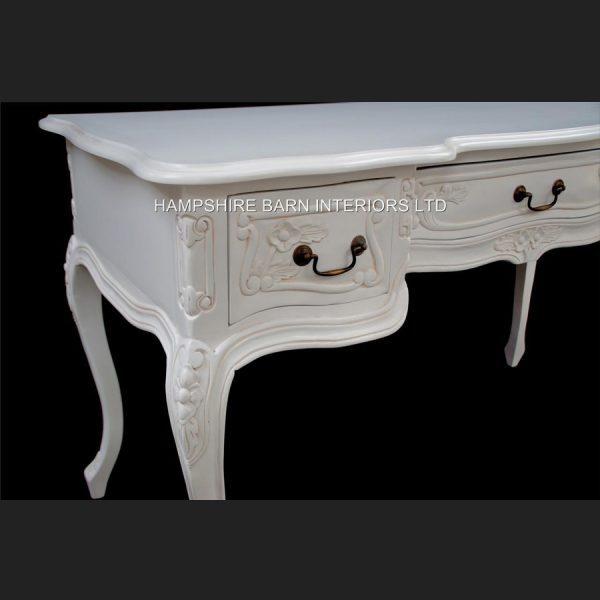 Chateau French Style Ornate White Desk ..can be used also as a Console or Dressing Table 3 Drawer3
