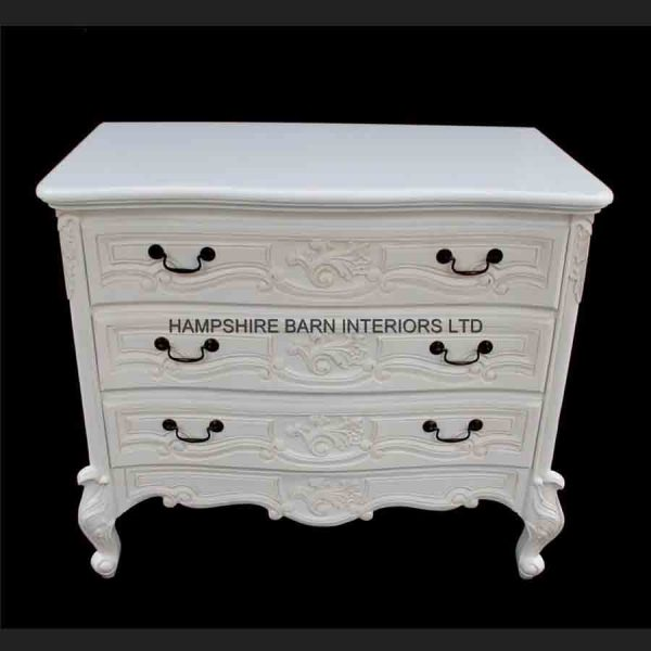 Chateau French Style White Painted Chest of 3 drawers1