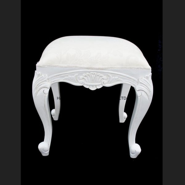 Chateau French Style White Painted Stool with Ivory fabric1