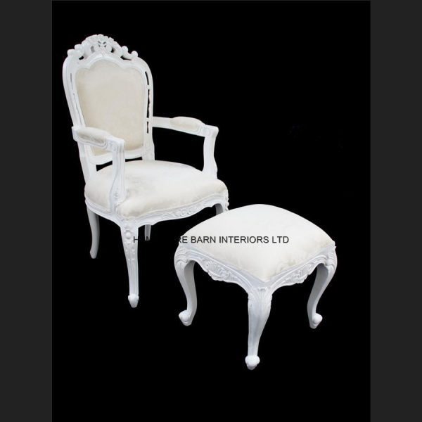 Chateau French Style White Painted Stool with Ivory fabric5
